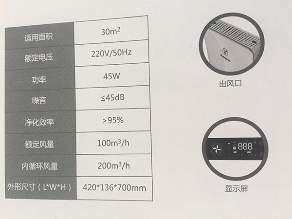 壁挂式新风净化一体机WH-FP100W